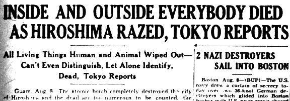 Atom bomb. Hiroshima headline.