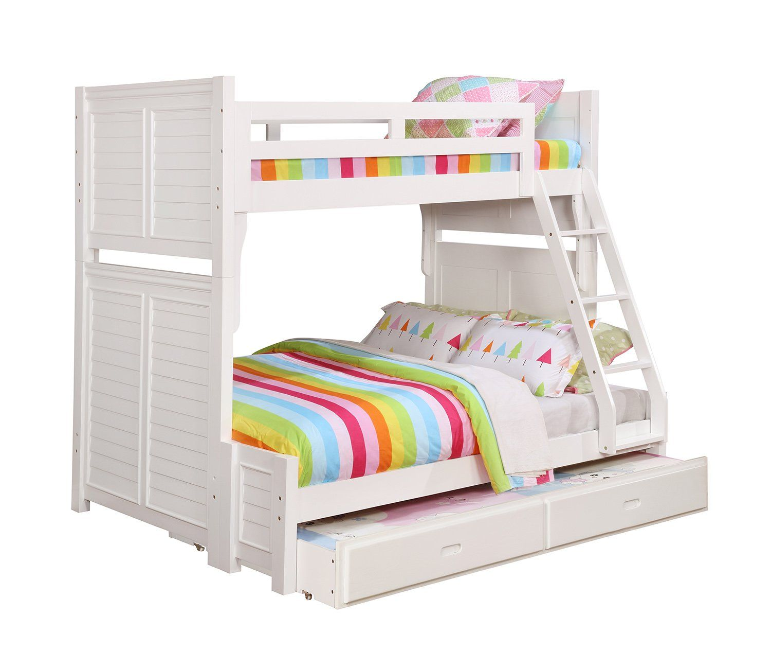 Coaster Edith White Wood Twin Full Bunk Bed With Storage Trundle