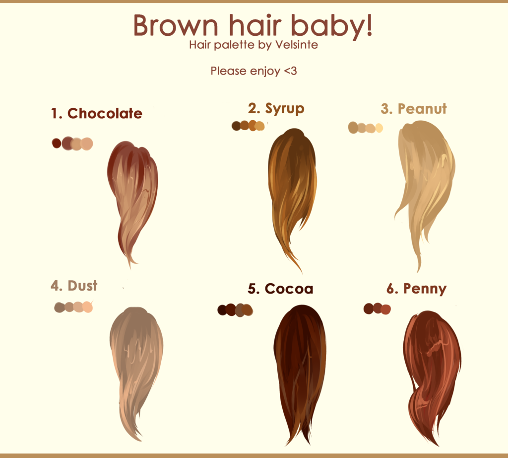 Brown Hair Hair Palette By Velsinte Anime Hair Color Hair Reference Anime Hair