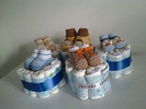 Small Diaper Cakes Small Diaper Cakes Diaper Cake Boy Diy
