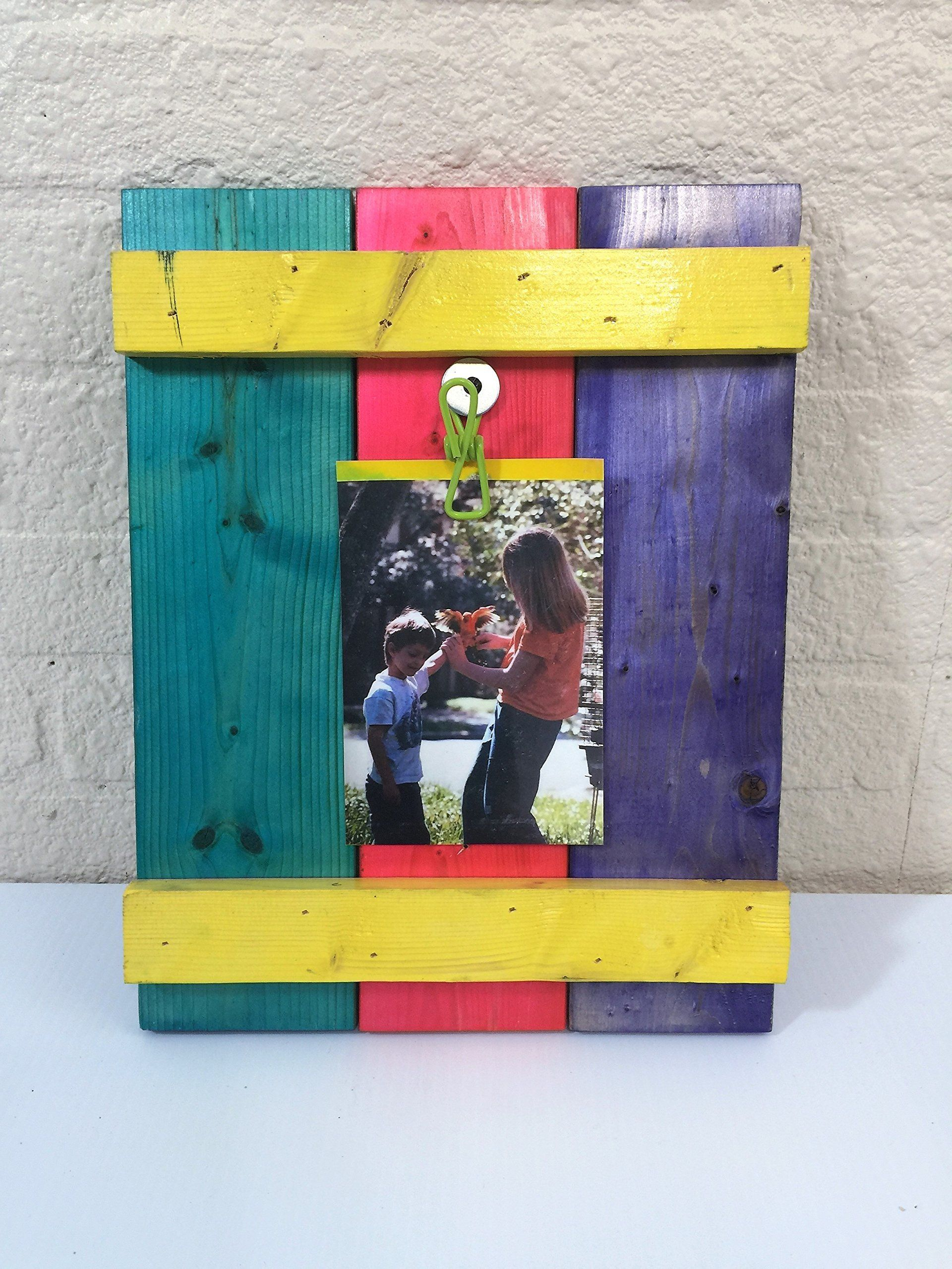 Rustic Bright Colored Wood Picture Clip Frame 4 X 6 or 5 X 7. his ...