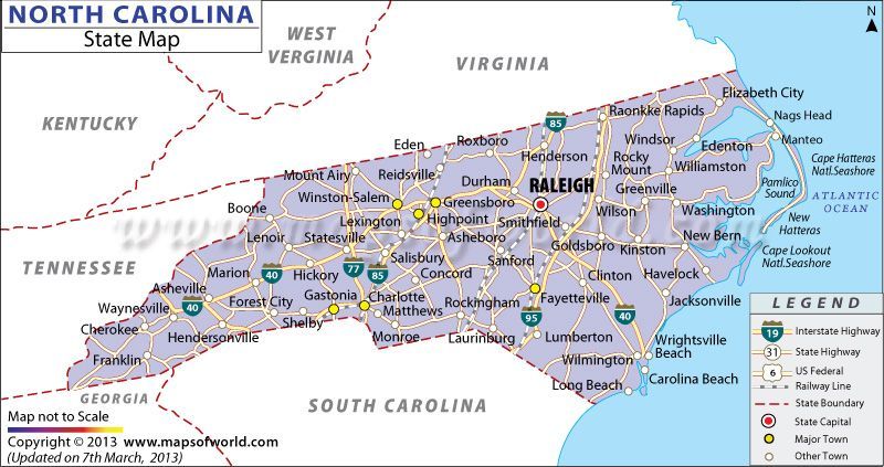 Map Of North Carolina And Virginia Cities Virginia Map - Map of north carolina with cities