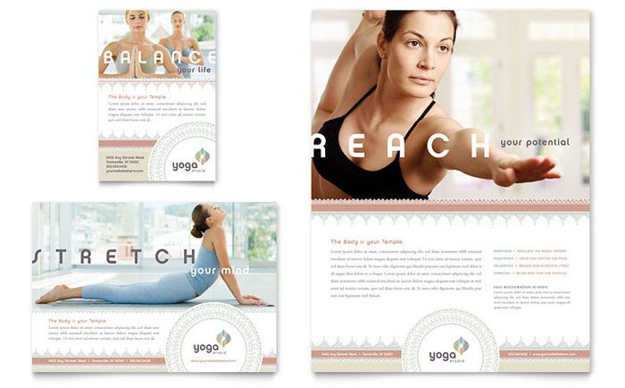 Yoga Pilates \ Flyer \ Ad Template Design Improve your life today - yoga flyer