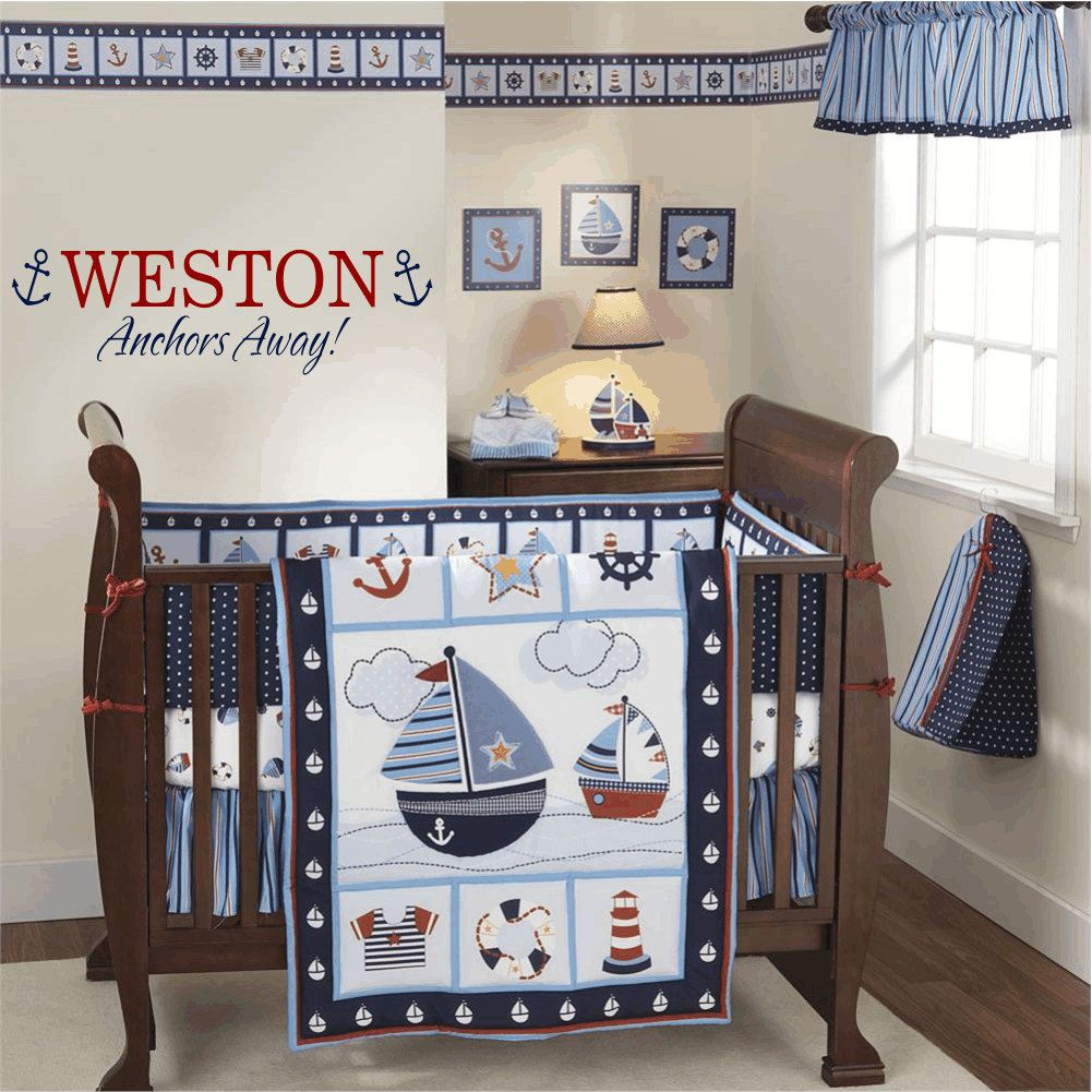 Nautical Wall Decal Anchor Sailboat Vinyl Personalized Name For Boy Baby Nursery Or Room 10 Hx36 W Art Fs136 39 00 Via Etsy
