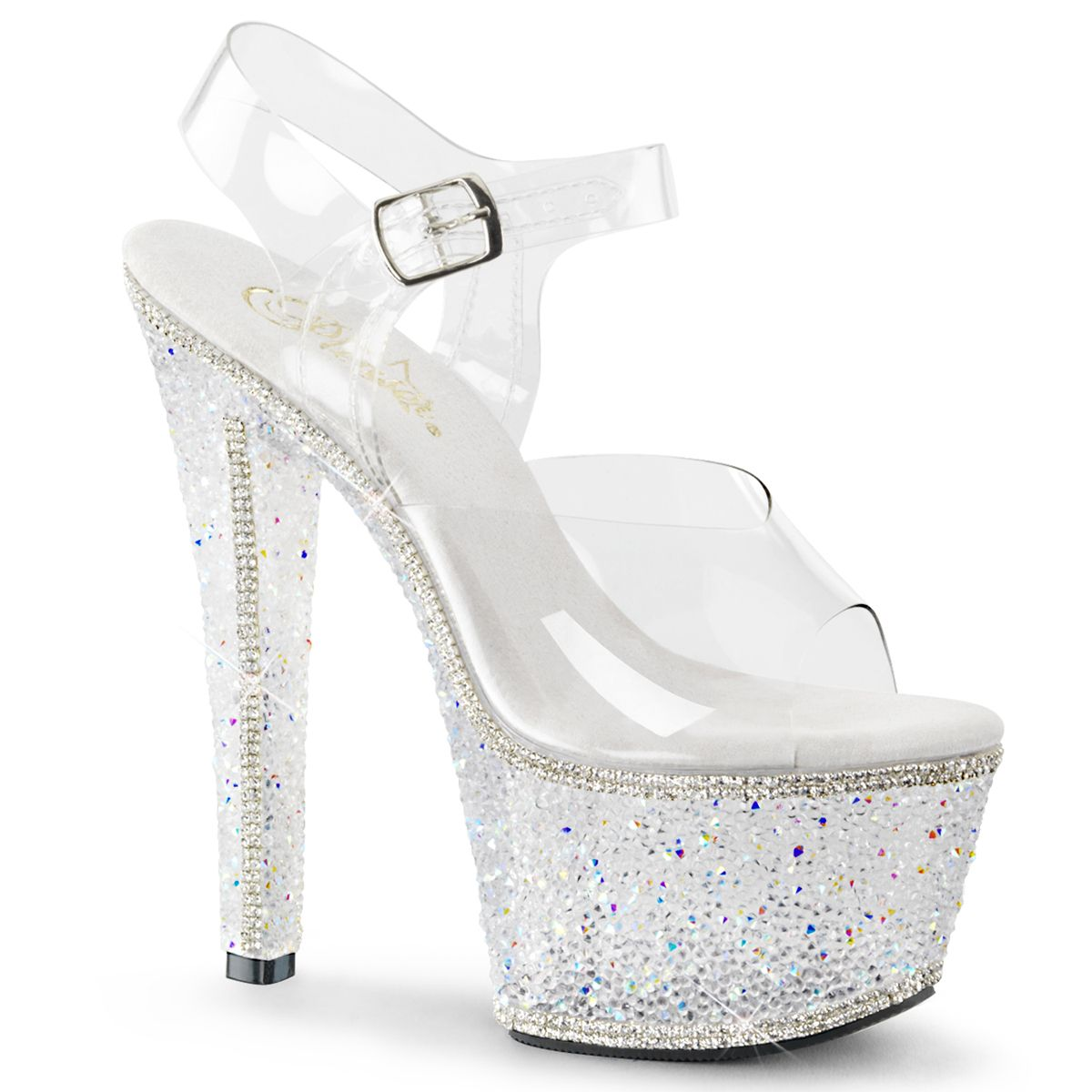 Pleaser Pleaser Pleaser BEJEWELED 708 2 Clear Silver Multi Rhinestone Platforms 04a081