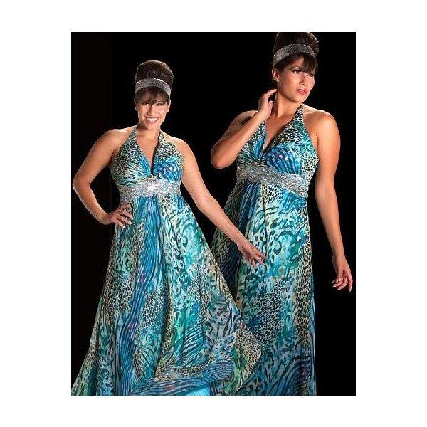 Cassandra Stone II Animal Print Plus Size Prom Dress 76256K ❤ liked on Polyvore featuring dresses, halter top, plus size beaded dresses, blue halter top, halter top prom dresses and plus size halter tops