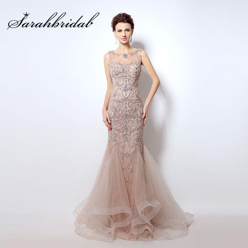 Elegante boda vestidos de noche largo sirena cordón cristales foto Real  Sexy pura cuello baile de graduación vestidos fiesta vestido de velada … db38a963fe96