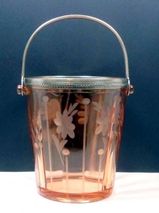 The Vintage Village - View Classified - Vintage Pink Glass Ice Tub Bucket Etched Glass Depression Glas