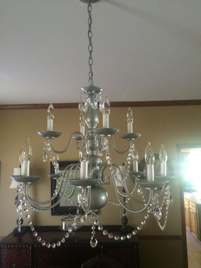 My Diy Spray Painted Chandelier I Just Used Rust Oleum Satin Nickel Added Some Crystals
