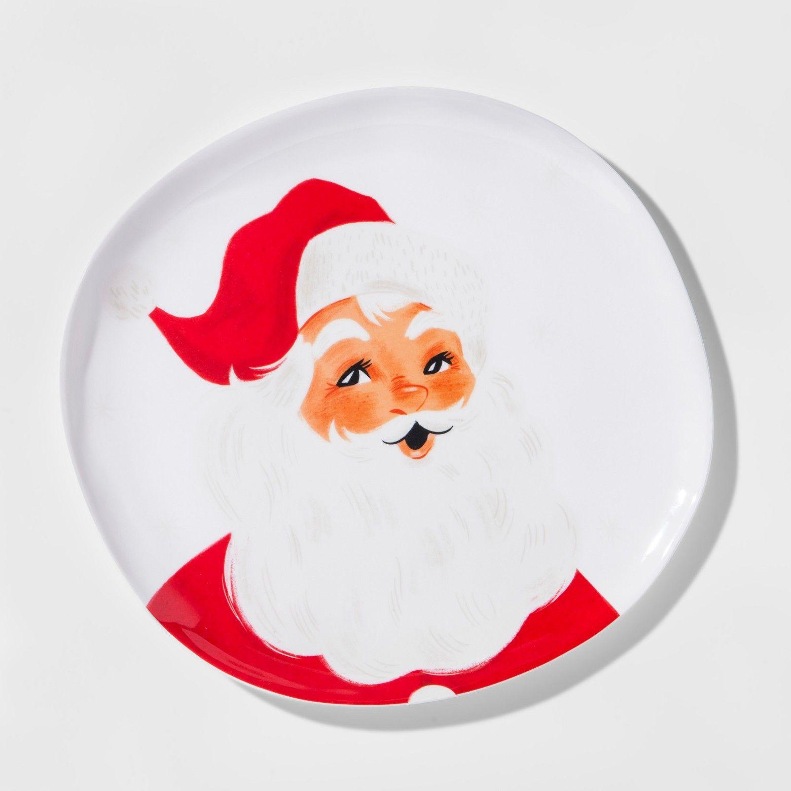 Melamine Santa Dinner Plate 10.5\  White/Red - Threshold™ & Threshold Melamine Santa Dinner Plate 10.5 White/Red | Santa