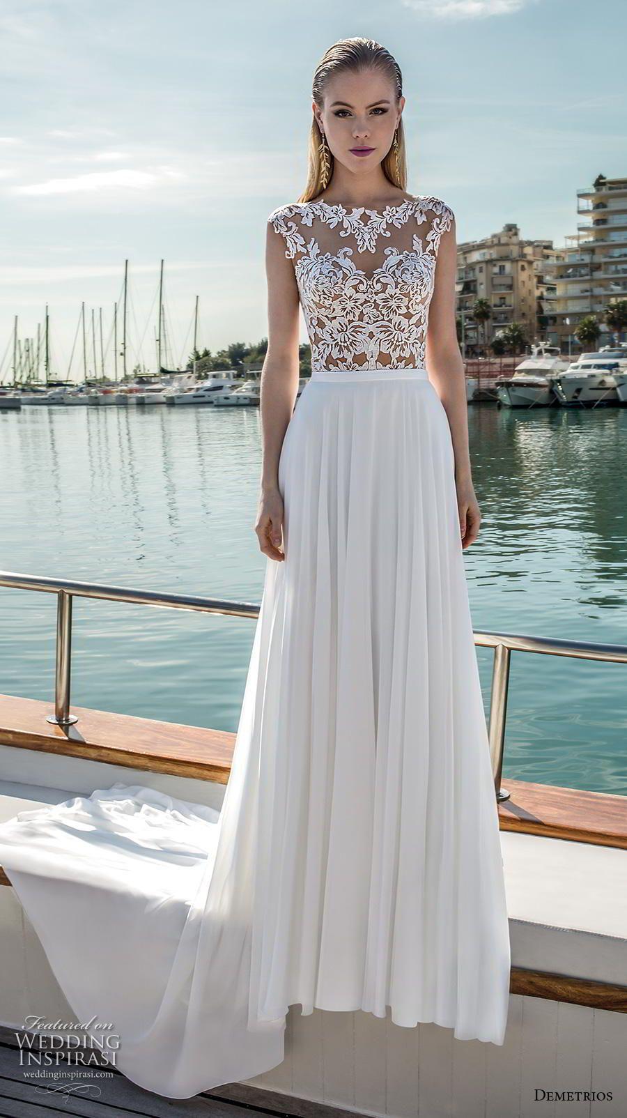 c2c6126a3e12 demetrios 2019 romance bridal cap sleeves bateau neckline heavily  embellished bodice modified a line wedding dress lace back sweep train (13)  mv ...