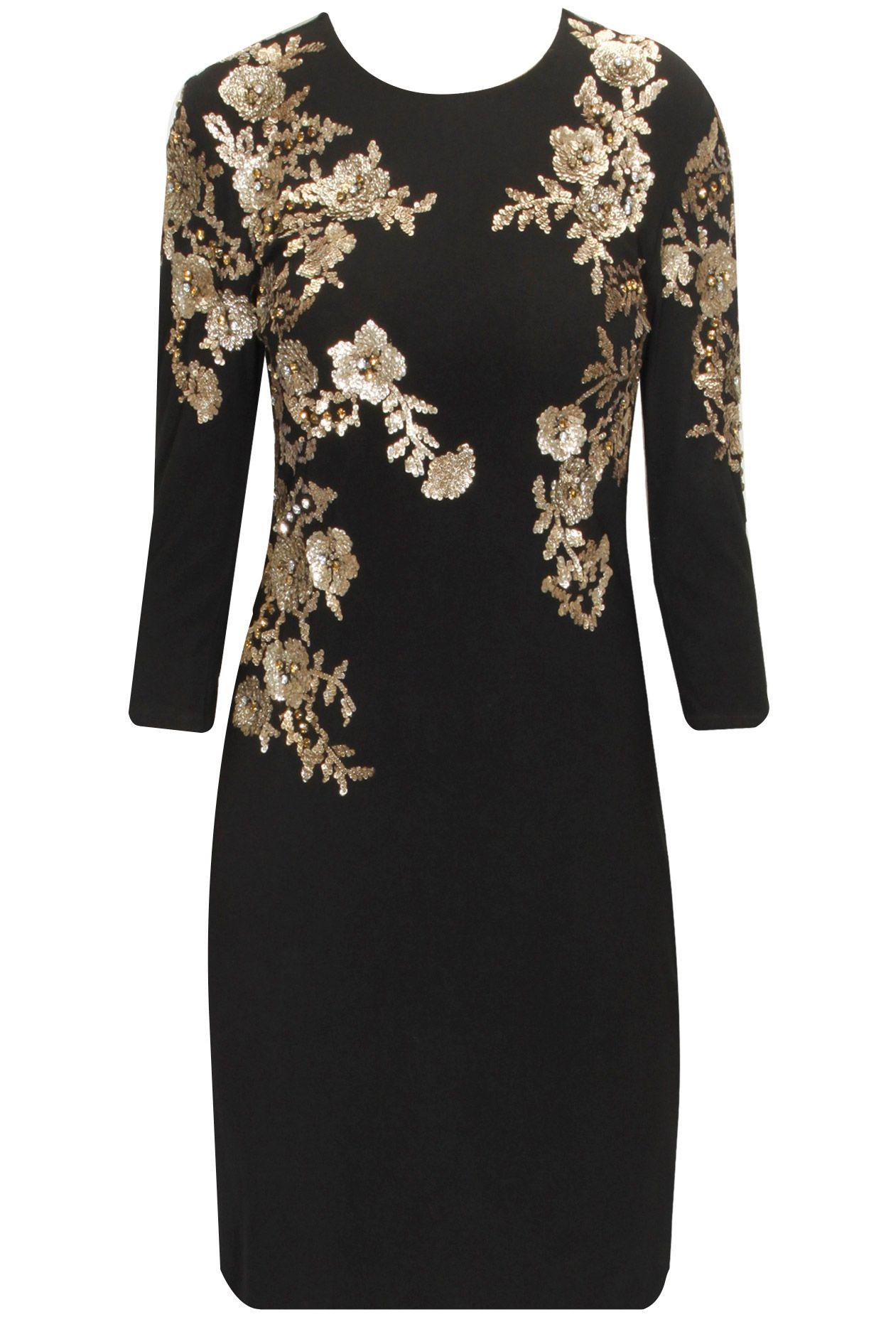 Namrata joshipura black sequins embroidered knee length dress