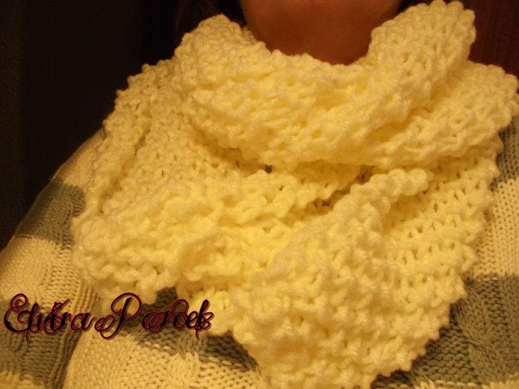 Como tejer una bufanda o cuello con punto de arroz