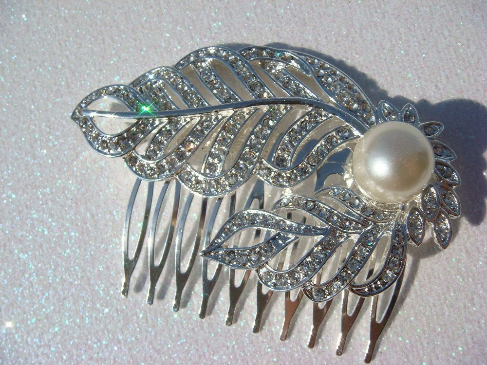Pearl and Rhinestone Hair Comb - bridal hair comb - leaves flapper vintage style hair comb. $30.00, via Etsy.