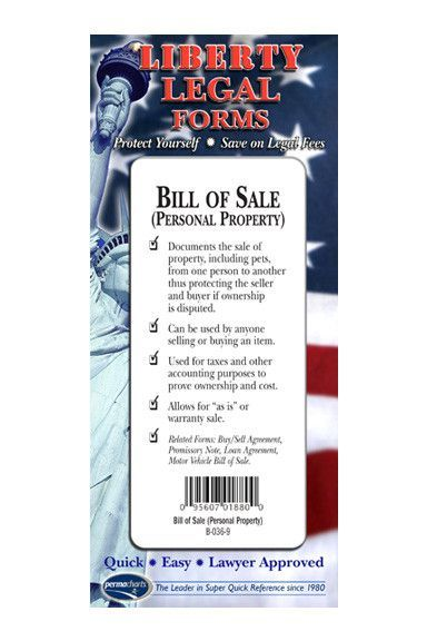 Bill Of Sale Forms Personal Property Legal Forms Kit  Usa