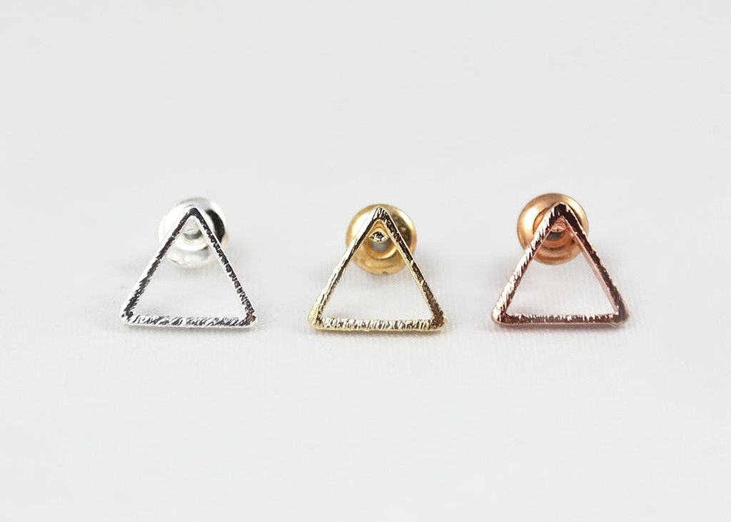 a957e8ee2 Geometric, triangle outline stud earrings. Available in silver, 18k gold or rose  gold plated.