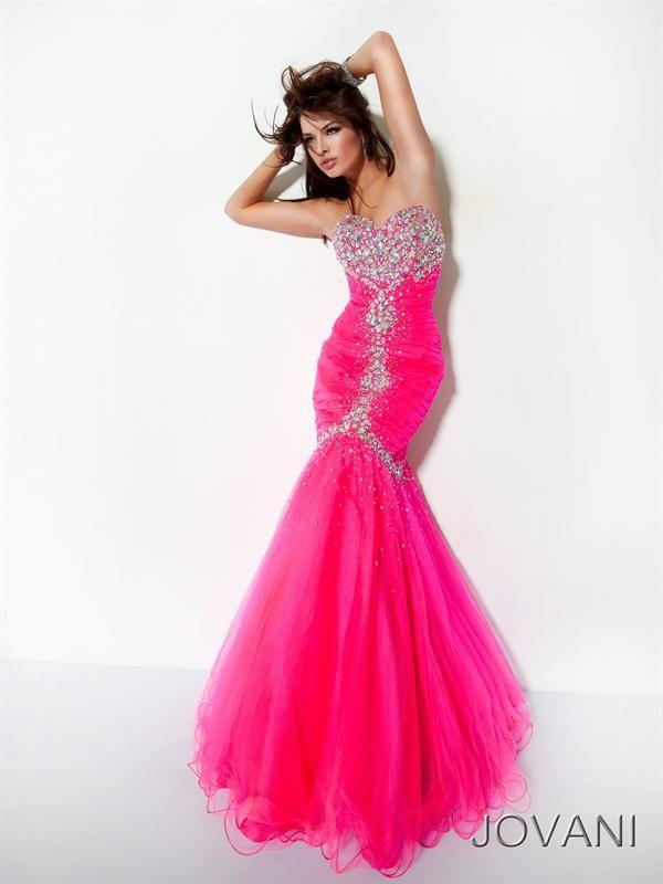 Preciosos Vestidos de Fiesta corte Sirena de color Fucsia | Vestidos ...