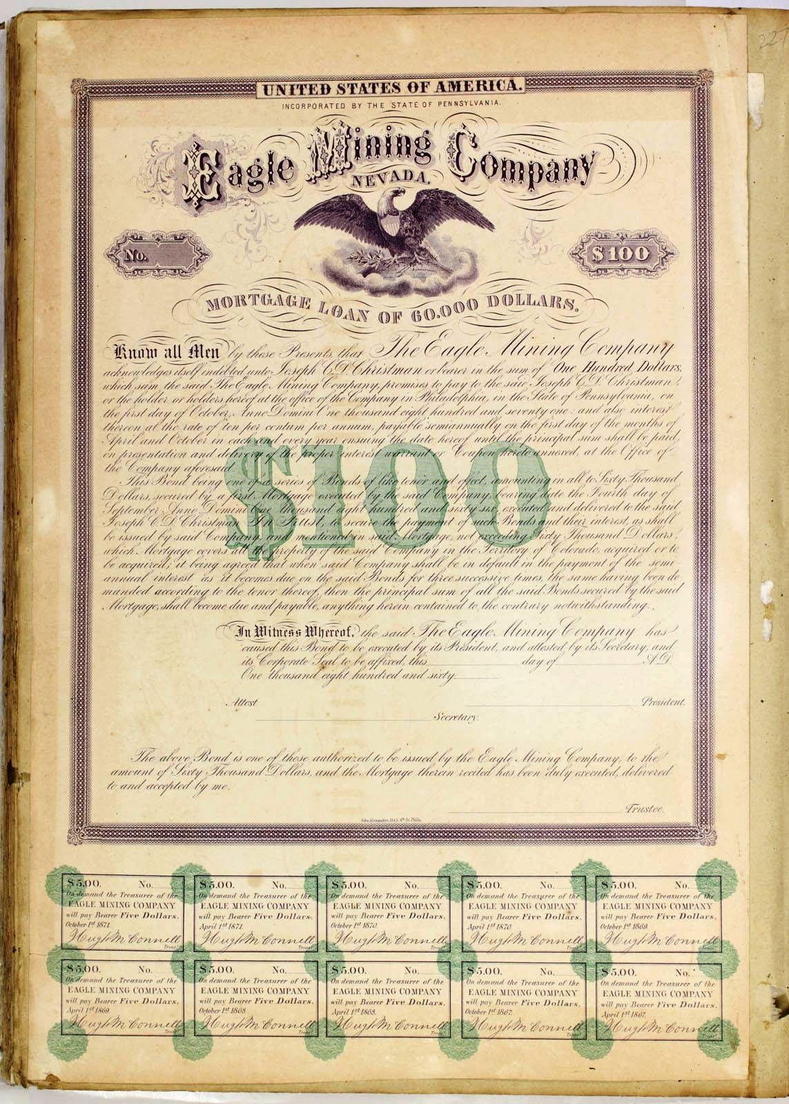 Specimen Mortgage Certificate Eagle Mining Co. of Nevada | Ephemera ...