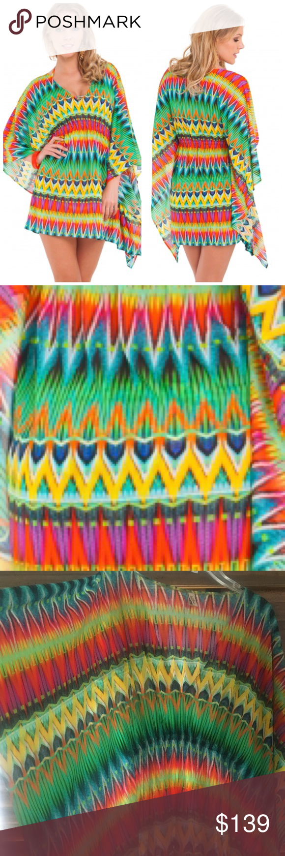 Luli Fama : Tulum Caftan - One Sz Stunning Caftan/Coverup. Worn once!!! Elastic waist balances the breezy silhouette of a playful crepe caftan splashed with vibrant, eye-catching color. Short Caftan Dress / Engineered Print /100% Nylon / Relaxed Fit With Elastic Ruching Under Bustline! Luli Fama Swim Coverups
