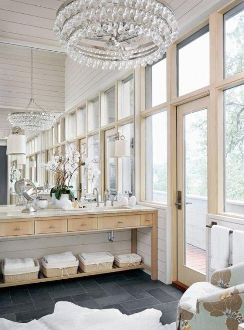 Shiplap, light woods, slate floors, natural light