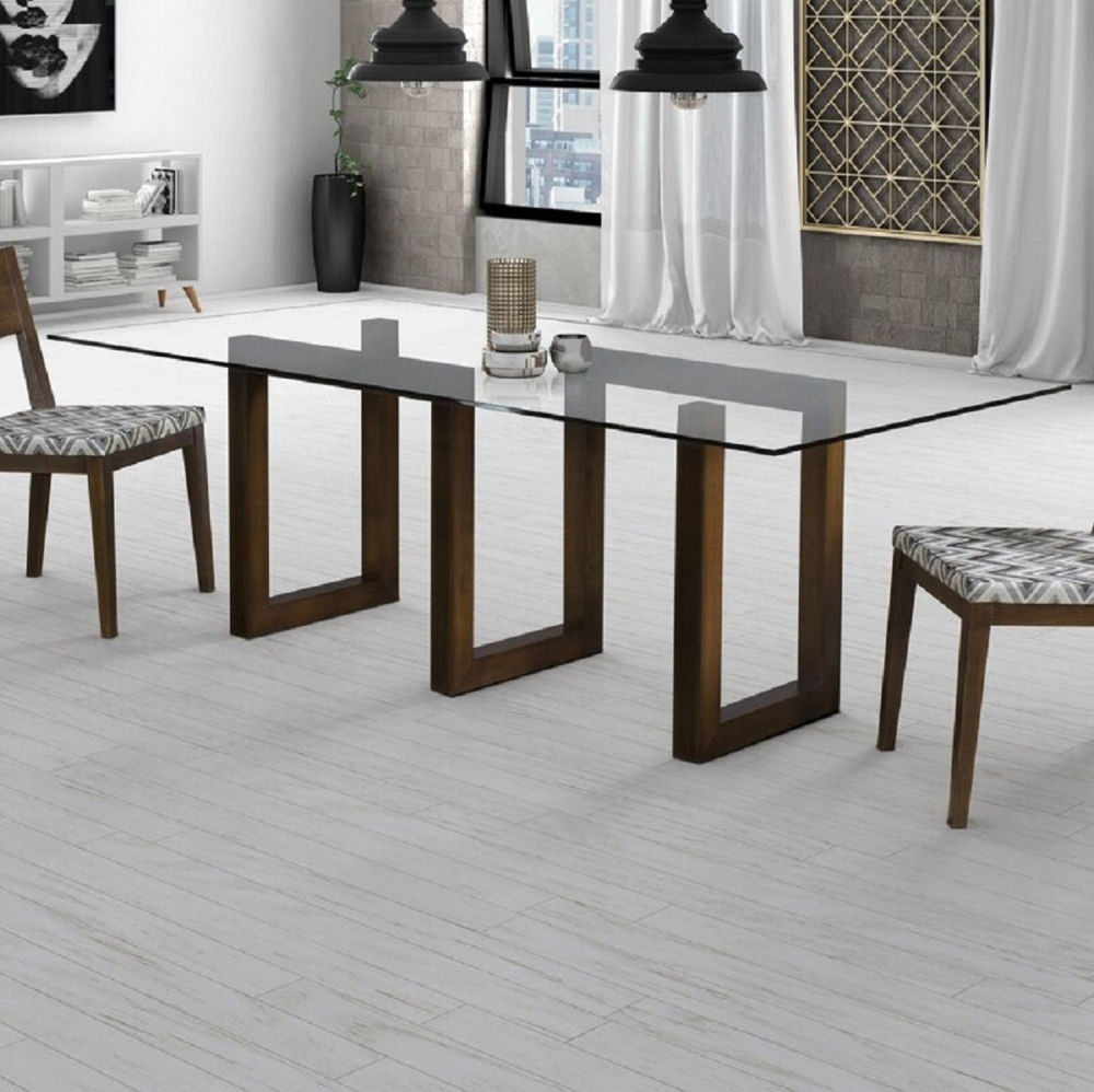 Rectangle Black Glass Top Dining Table With Stainless Steel Bases
