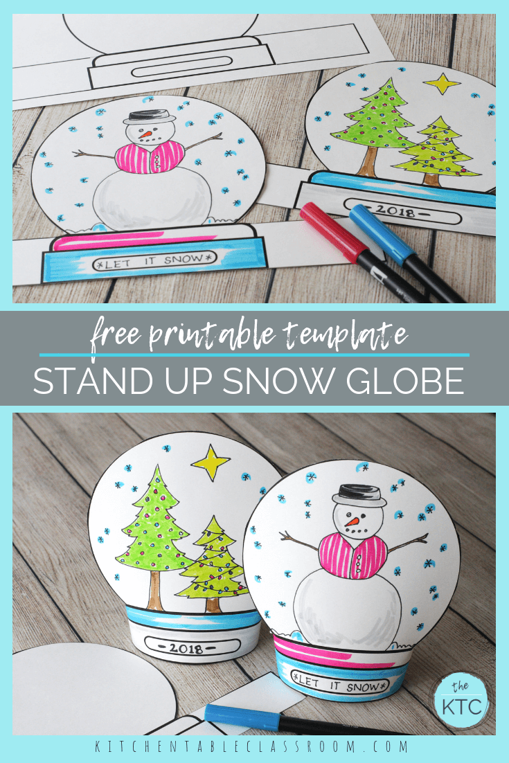 Make A Snowglobe Print Draw Stand Up Template The Kitchen Table Classroom Snow Globe Crafts Globe Crafts Winter Crafts