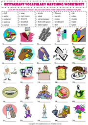 Restaurant Kitchen Vocabulary at the restaurant vocabulary matching exercise worksheet icon