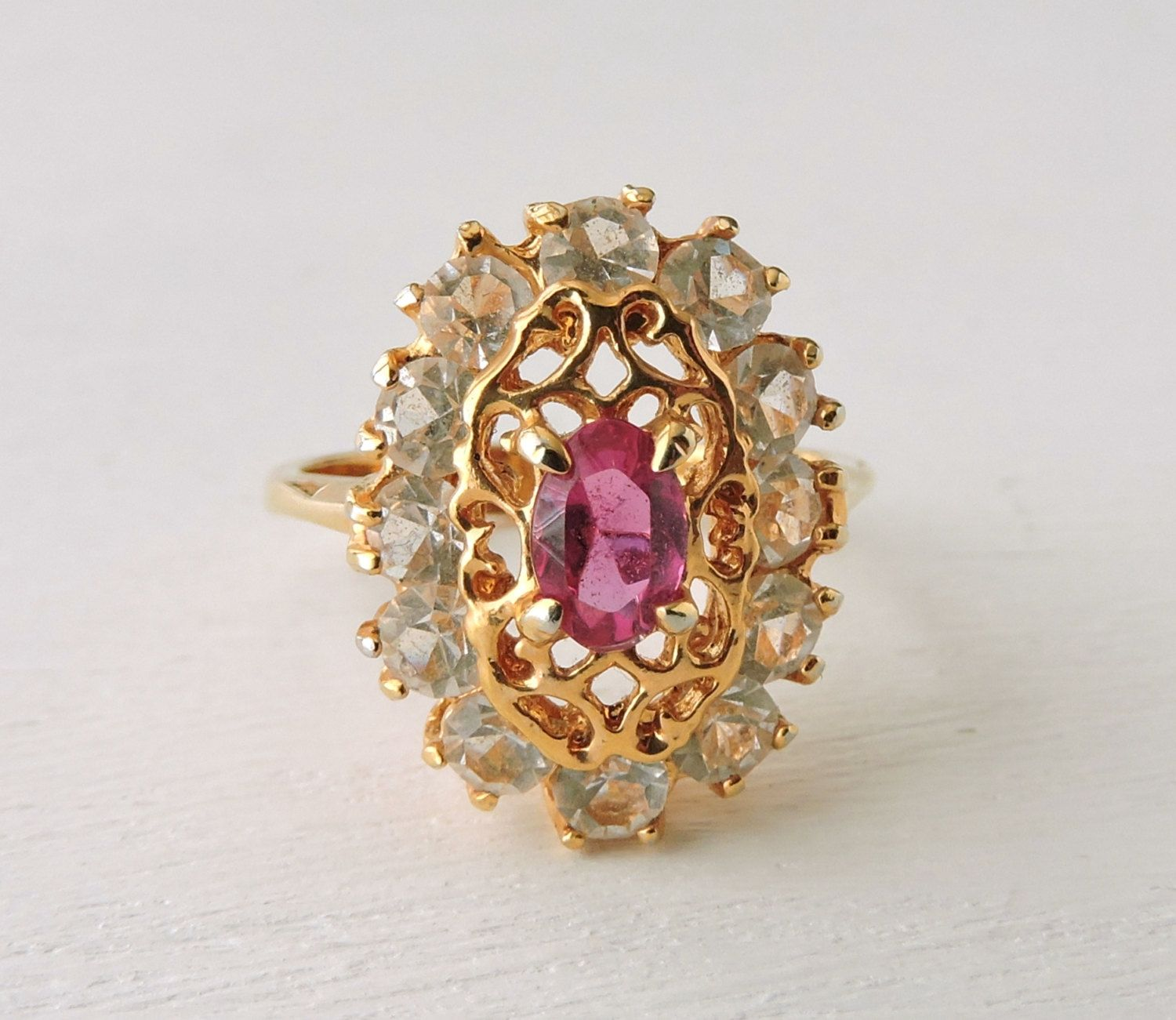 Vintage Ruby Ring: 10K Gold Ring, Ruby and White Topaz Cluster Ring, Filigree Oval Ring, 10 KT Yellow Gold, Estate Jewelry, sz 6.5 by ninthstreetvintage on Etsy