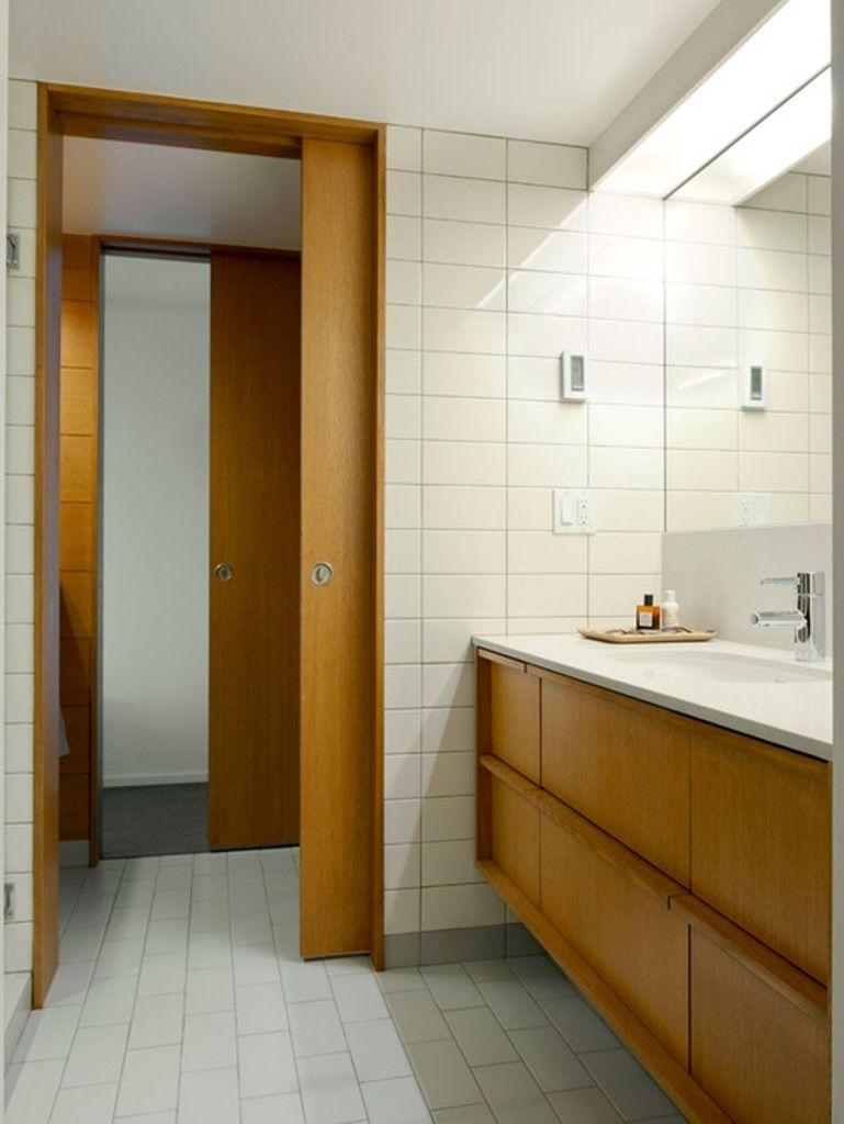 Simple Mid Century Bathroom Ideas With White Ceramic Floor And