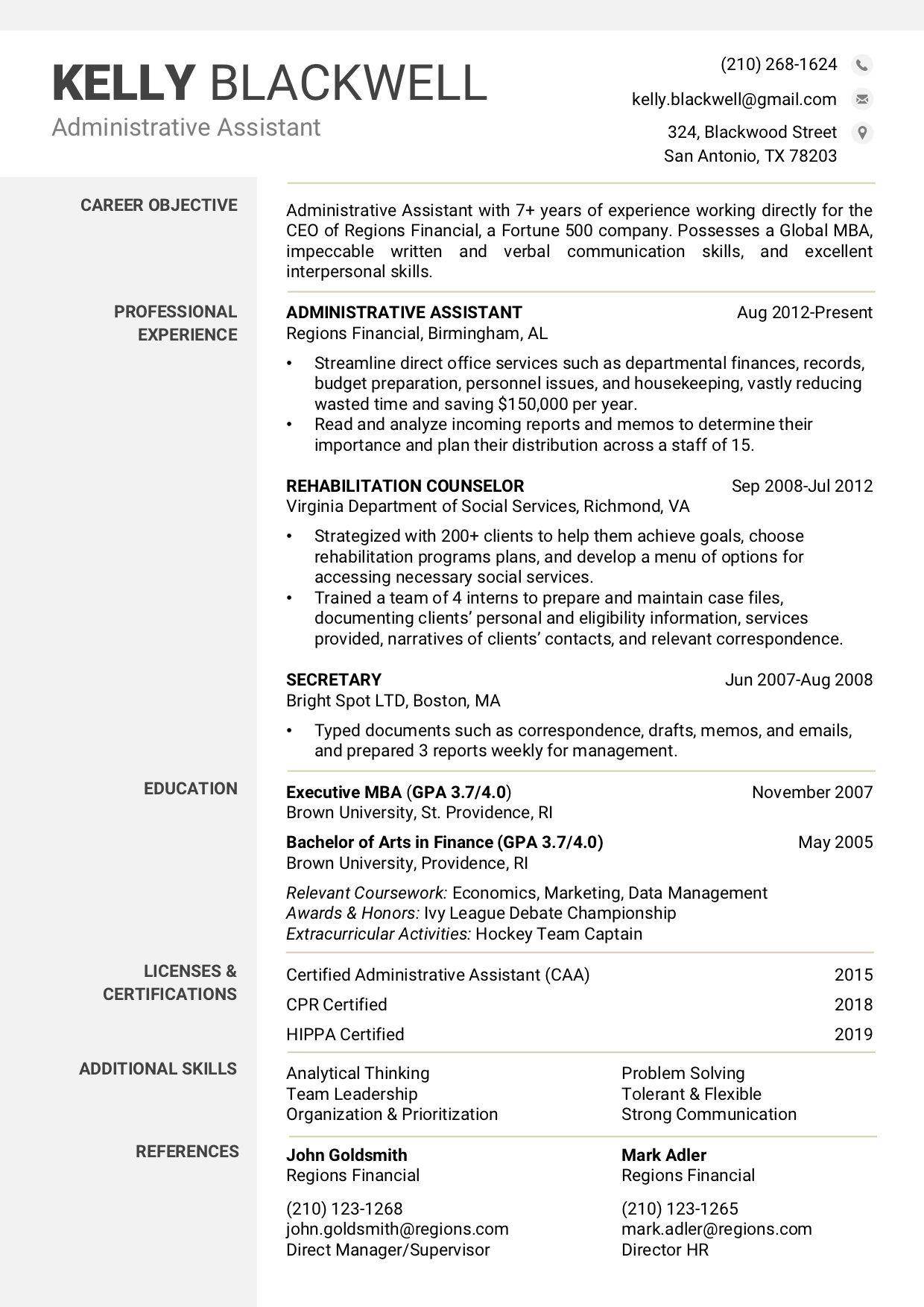 Resume Word Template Simple