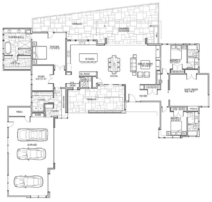 One story floor plans open concept 4 bedroom 3 bath - Single story 4 bedroom modern house plans ...