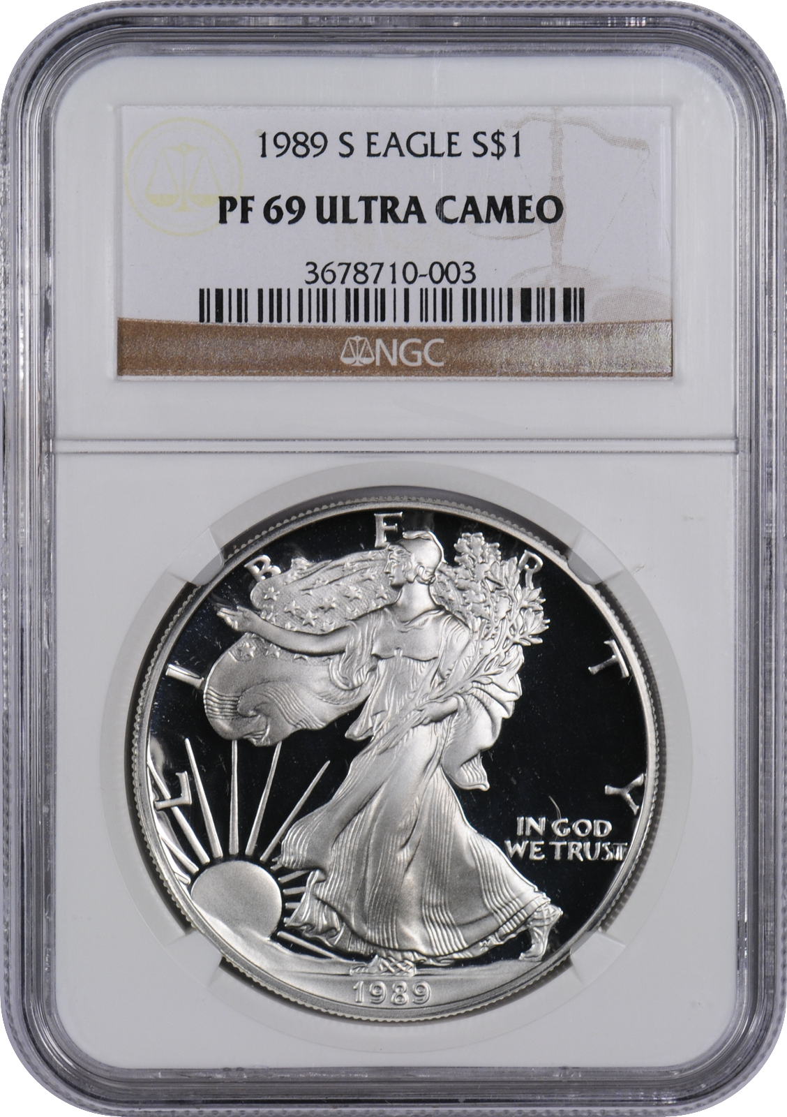 This 1989 S Silver Eagle Pf69 Uc Is A Popular Coin For Investors And Collectors Alike This Coin Has A Face V Silver Dollar Silver Bullion Coins Silver Eagles