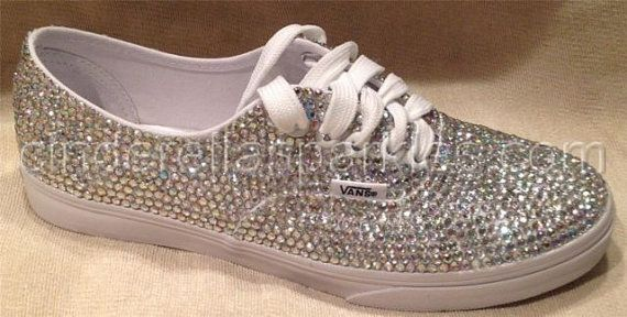 100% Genuine Rhinestone Crystal Vans Shoes- Bridal Prom Romany Trainers on  Wanelo a52242adb