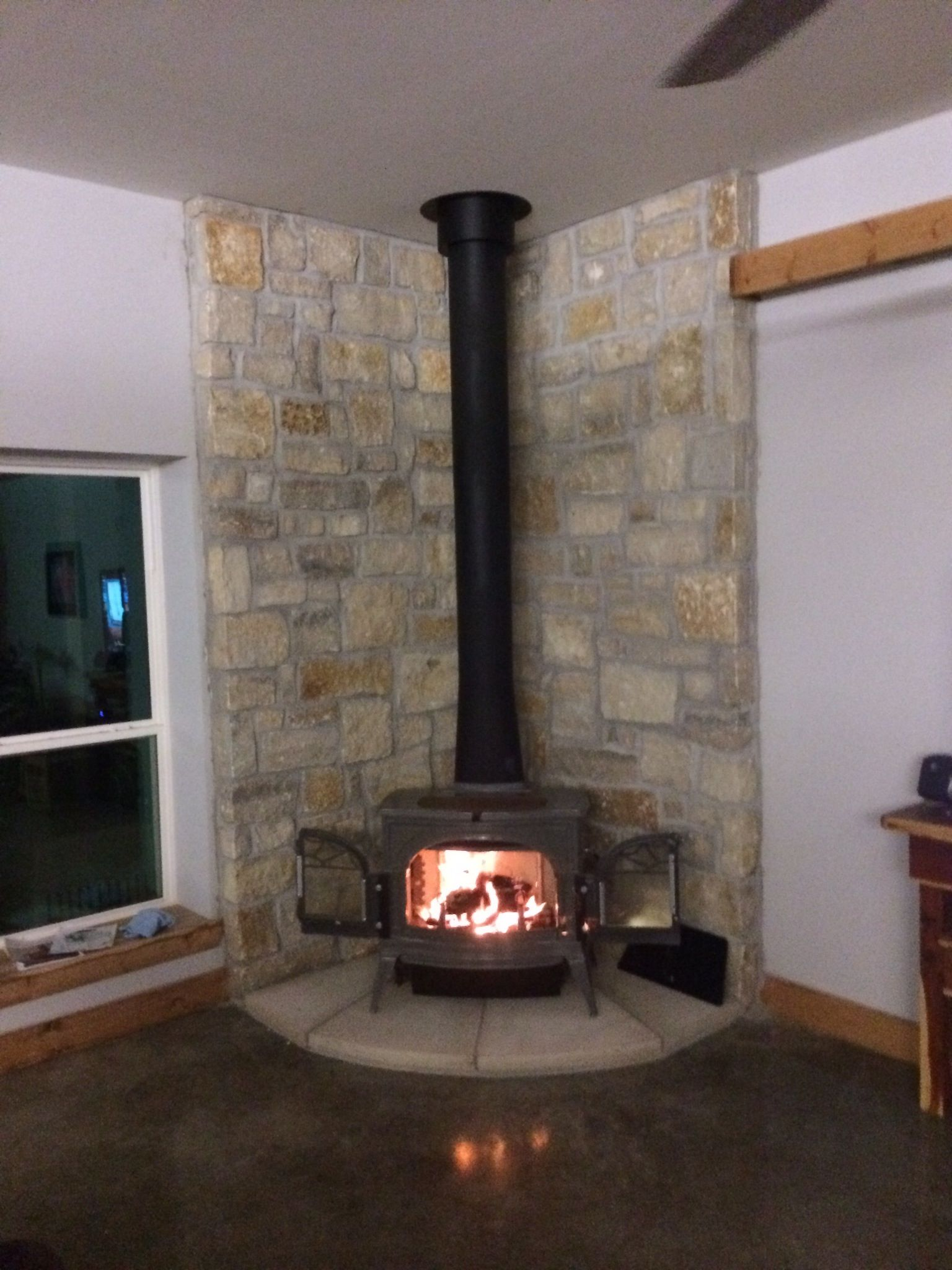 Fire stove in living room corner