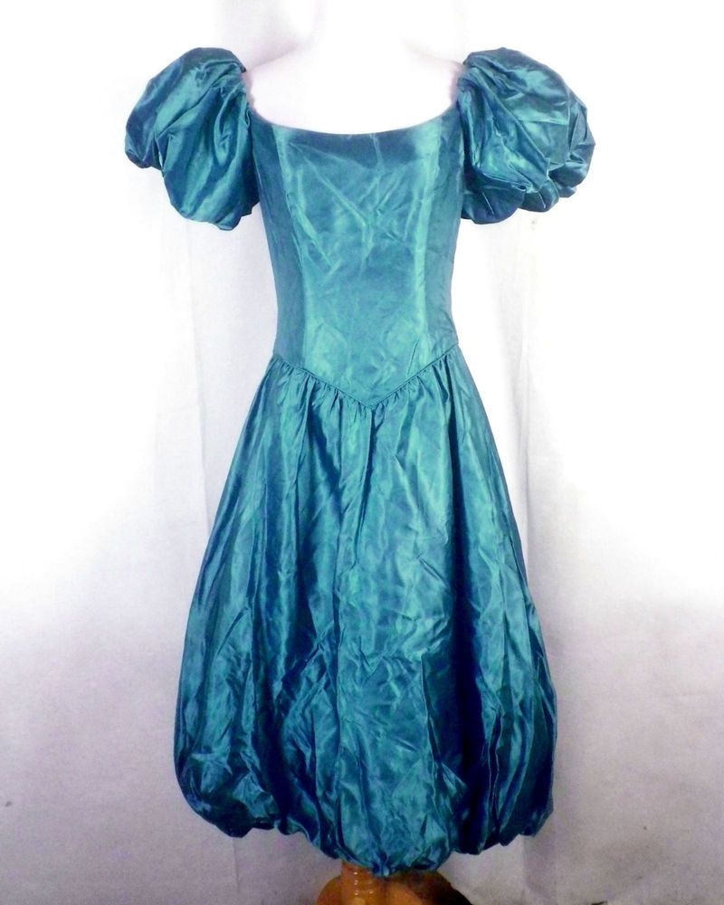 vtg 80s LOUD Formal Prom Dress Pageant Gown Blue Huge Puffy Princess ...