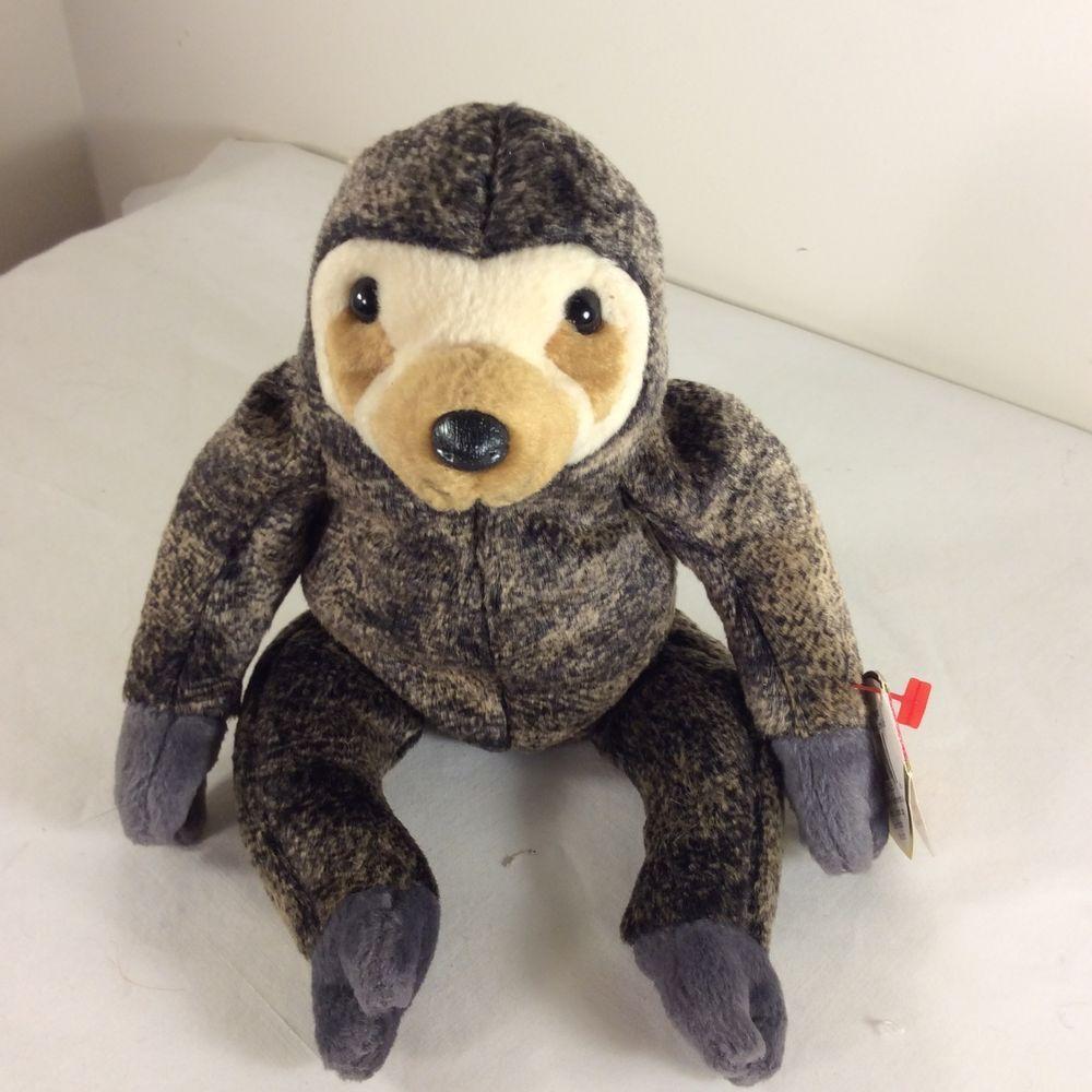 8b5f86fa72a Original TY Beanie Baby Slowpoke The Two Toed Sloth 1999 Retired Brown 9