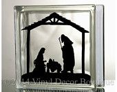 Nativity Glass Block Decal Tile Mirrors DIY Decal for Christmas Glass Blocks Nativity