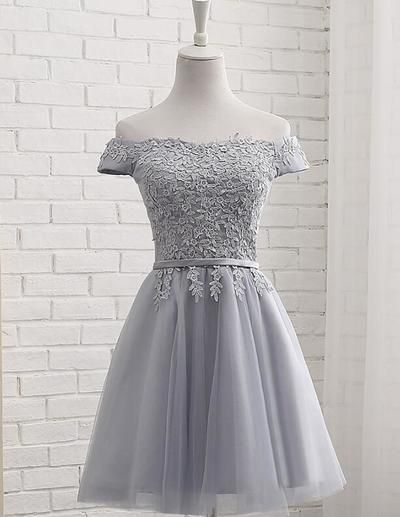 80051389a98 Tulle Grey Short Homecoming Dress