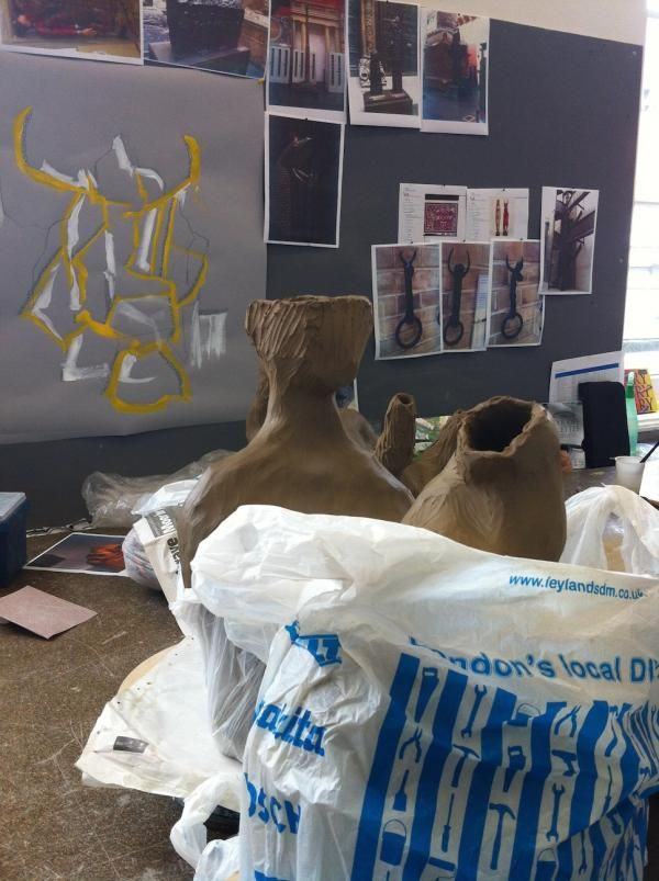Ceramics Resident: Nao Matsunaga, April – October 2014, clay works in progress with inspiration from the collections in the background, © Victoria and Albert Museum, London