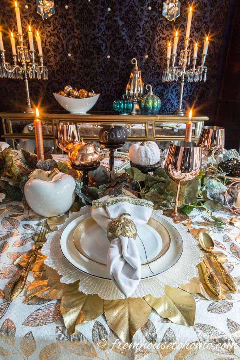 Beautiful Gold And Copper Fall Table Setting Dinner Table