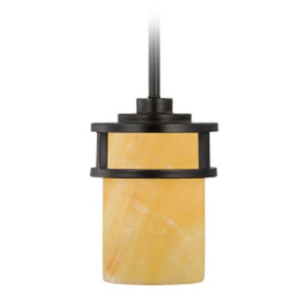 Quoizel Lighting Mini Pendant With Erscotch Onyx Cylinder Shade And Led Bulb Ky1508ib 8w