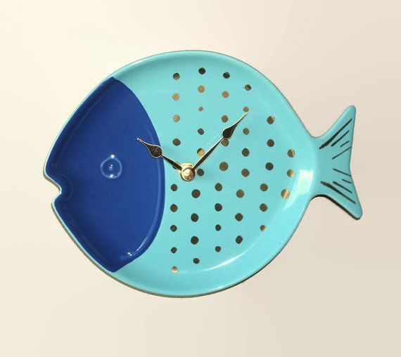 Blue Turquoise Fish Wall Clock Bathroom Clock By Makingtimetc