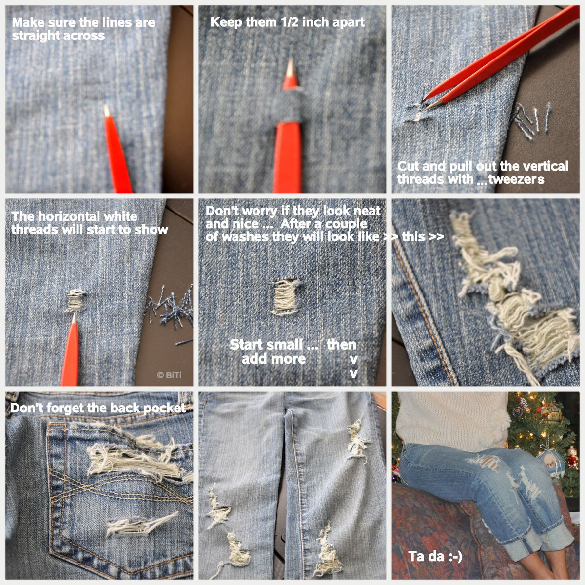 DIY ripping jeans torn denim | beauty | Pinterest | Denim jackets