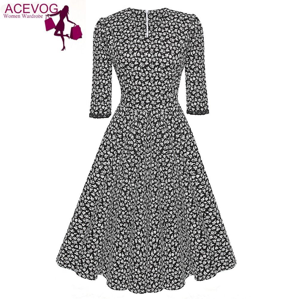 Acevog marca 1950 s dress autunno primavera 3/4 donne del manicotto di modo elegante vintage rockabilly floreale swing vestiti da partito 4 stili
