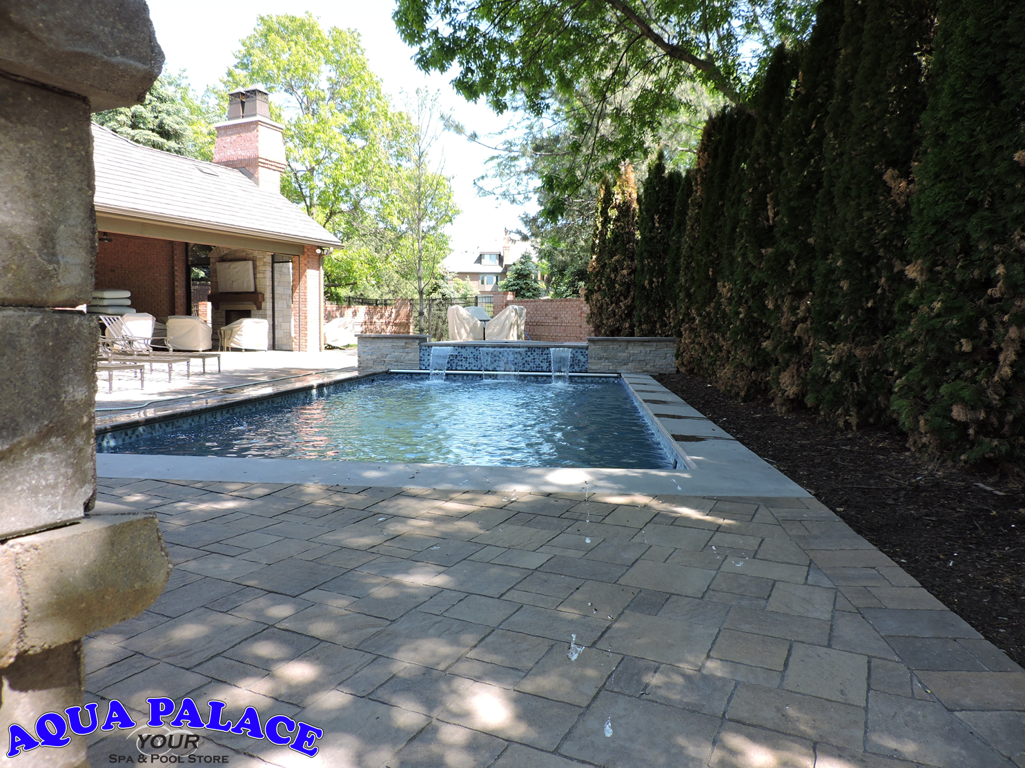 custom inground pools. Fiberglass Inground Pool With Custom Water Features, Tile And Auto Cover. Enjoy The Hot Pools