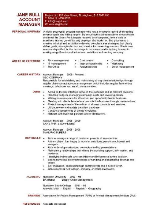 Account Manager Cv Template Competences Cv Cv Example Resume