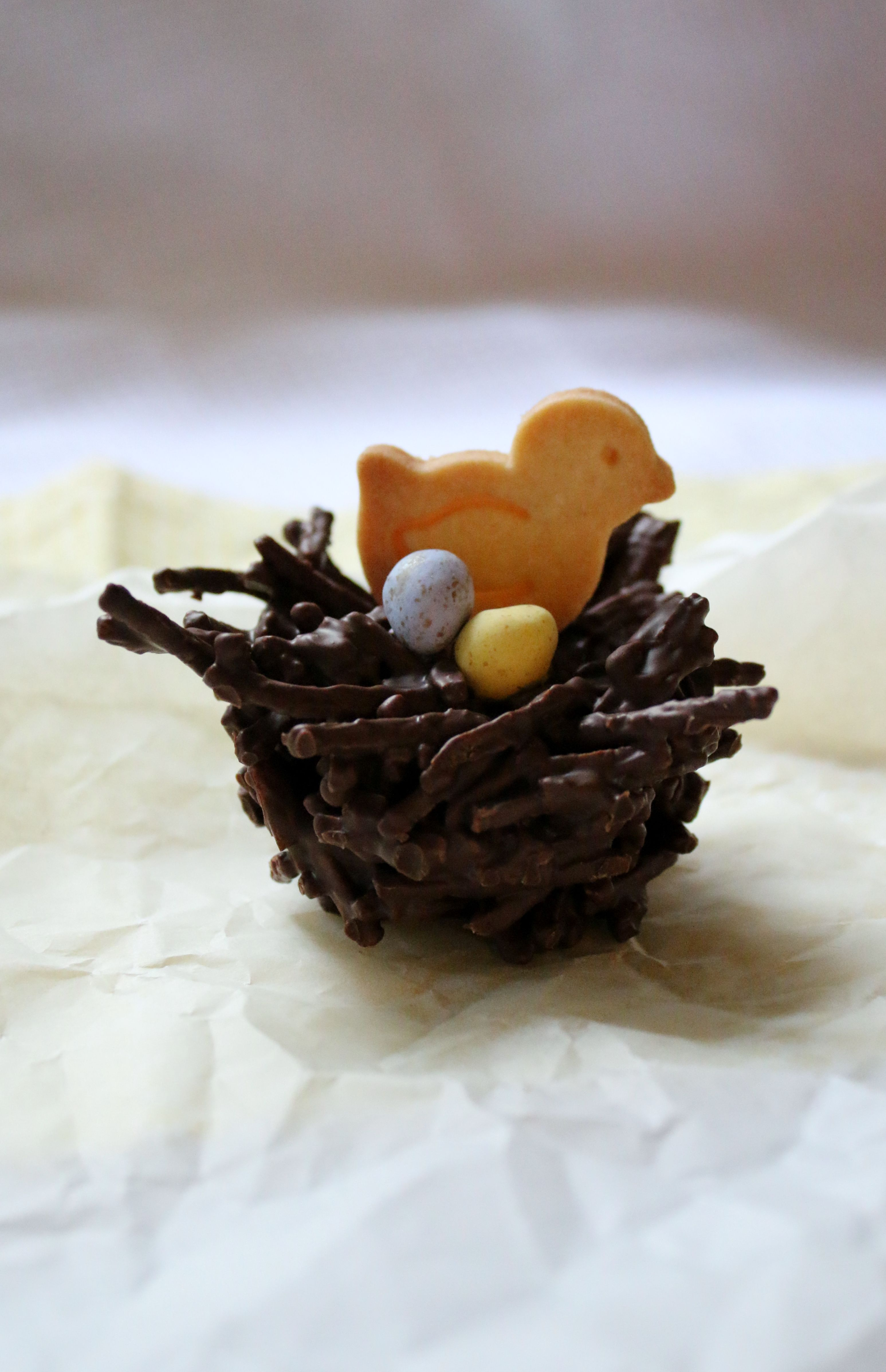 Easter chocolate shredded wheat nests with a pastry chick