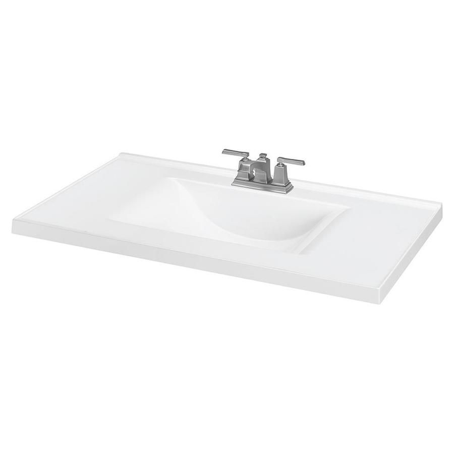 White Cultured Marble Integral Bathroom Vanity Top Common 37 In
