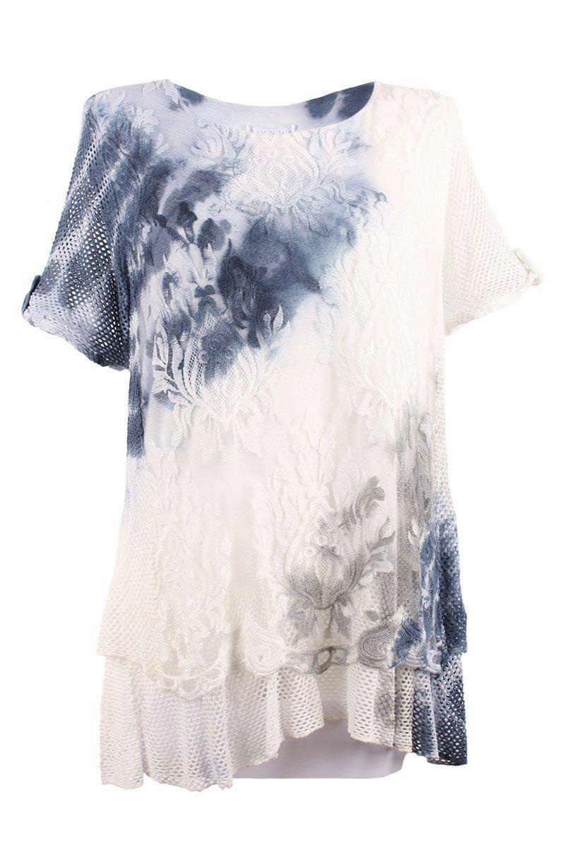 #Tunika blau in Batik Look für Plus Size Größen