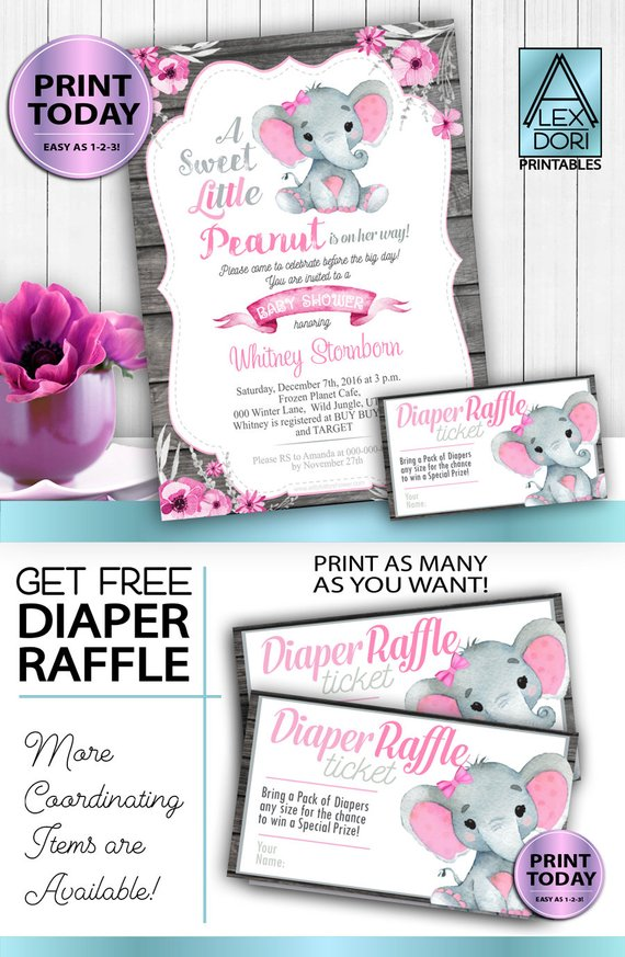 Instant Download Pink Gray Peanut Elephant Invitation